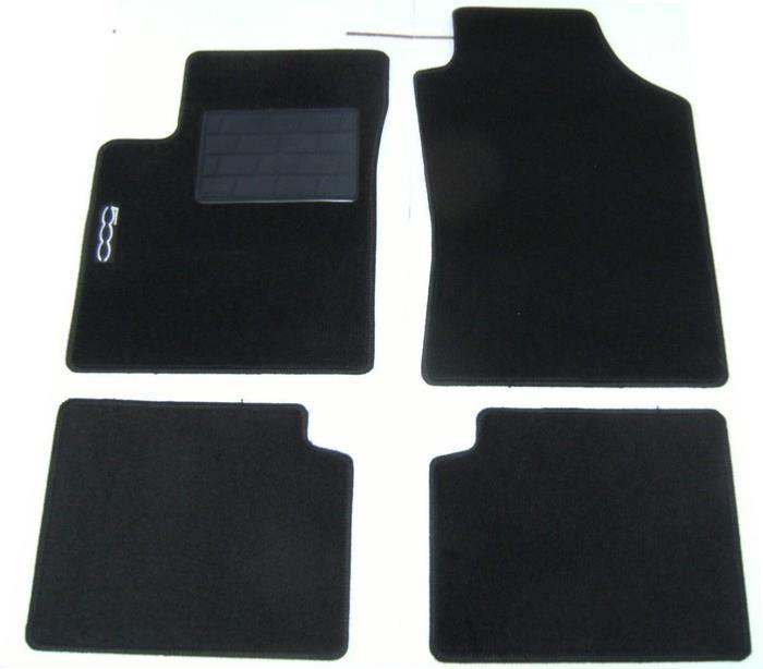 kit de 4 tapis de sol fiat 500 moquette avec sigle 500. Black Bedroom Furniture Sets. Home Design Ideas